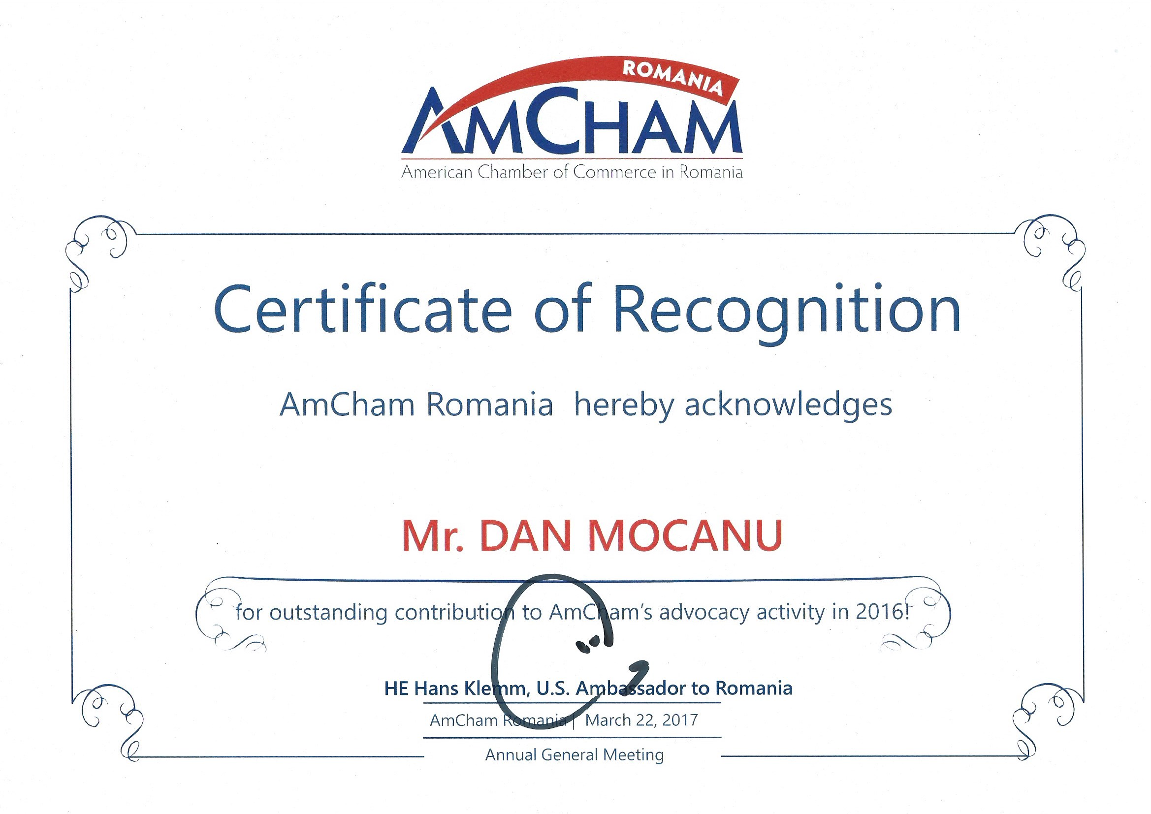 Dan mocanu receives a certificate of recognition at the amchams dan mocanu receives a certificate of recognition at the amchams annual general assembly on march 22 2017 1betcityfo Choice Image